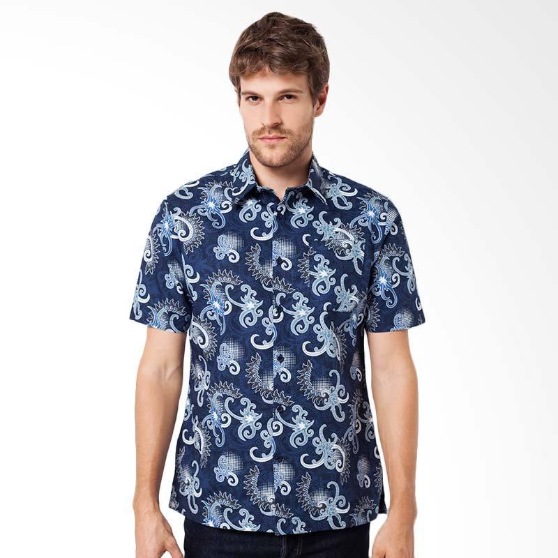 A&D Fashion Mens Shirt Short Sleeve Kemeja Batik Pria - Navy [MS 710A]