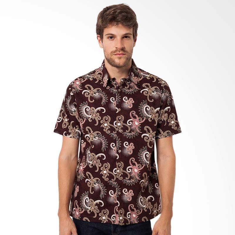 A&D Fashion Mens Shirt Short Sleeve Kemeja Batik Pria - Brown [MS 710B]