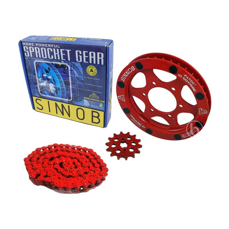 harga Sinnob Premium Sprocket Gear Set Rantai Motor for Kawasaki Ninja 150 RR - Merah Blibli.com