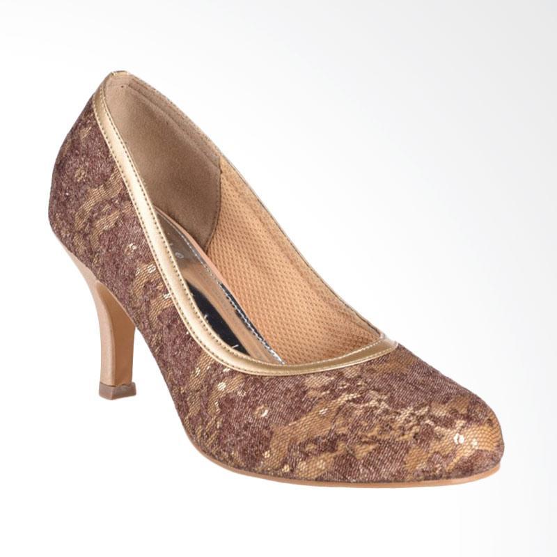 harga Pretty Calla Shoes High Heel 05 Sepatu Wanita - Coklat Gold Blibli.com