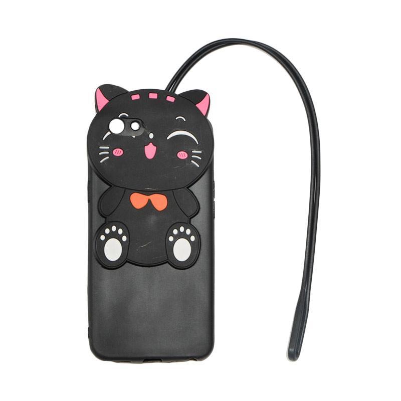 VR 3D Karakter Smile Cat Edition Silikon Softcase with Kalung Tali Gantungan Casing for OPPO F1S Selfie Expert A59 - Black