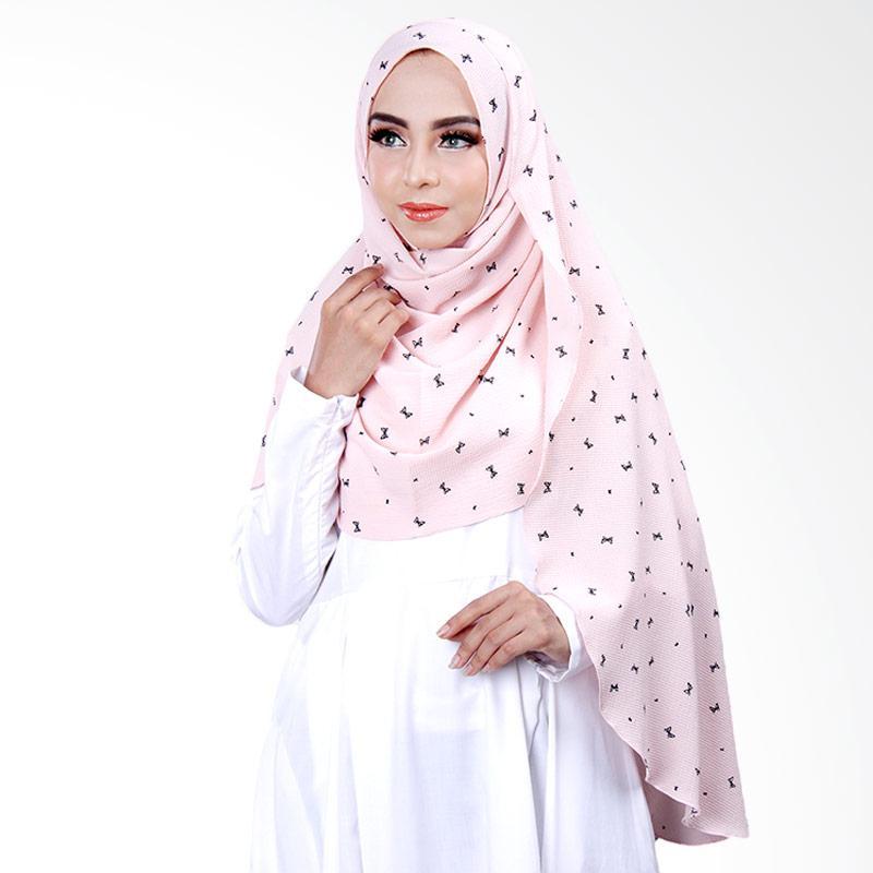 Cantik Kerudung Khloe Printed Hijab Instant ��� Dusty Pink No.1