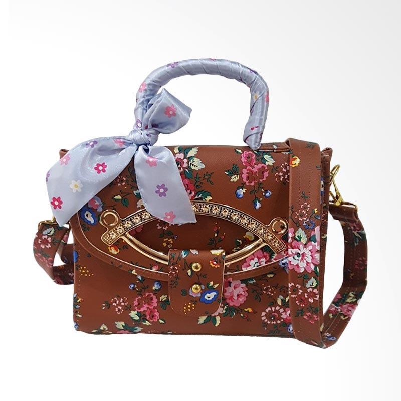 Chloebaby Shop S309 Crossbody Scarf Kanvas Bag Tas Selempang Wanita - Coklat