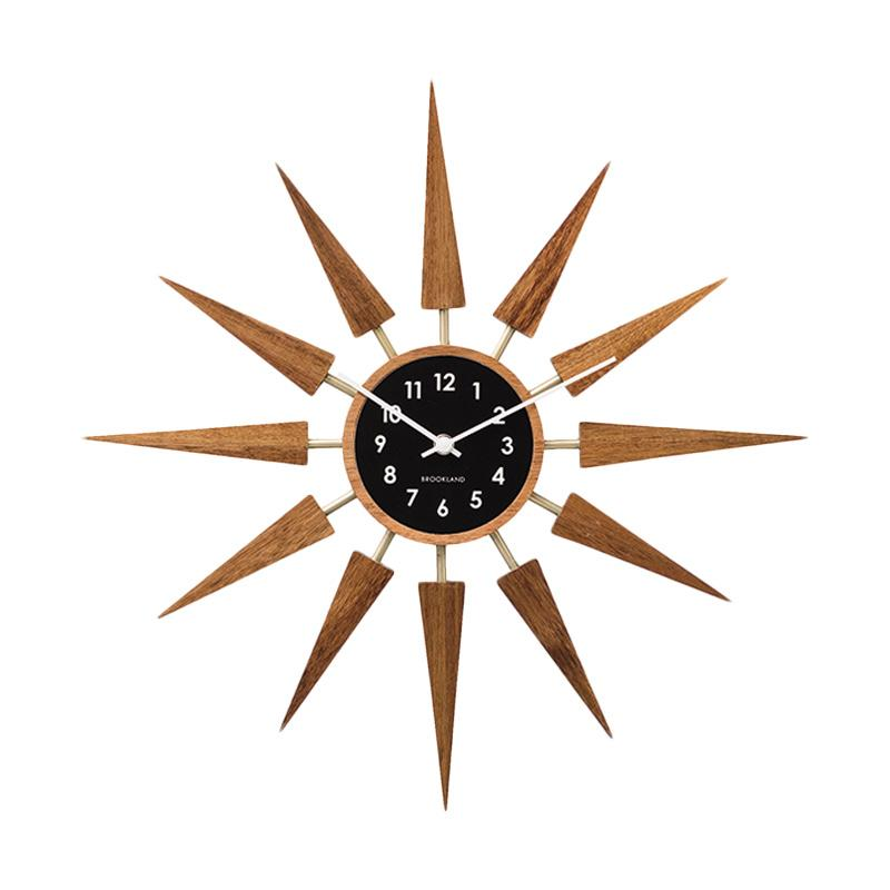 Zeller Life Starburst Harolt Wooden Modern Home Decor Wall Clock - Dark Wood