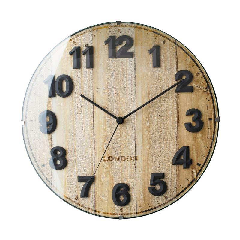 Zeller Life Rustic Modern Home Decor Round Clock Voyage Wooden Jam Dinding