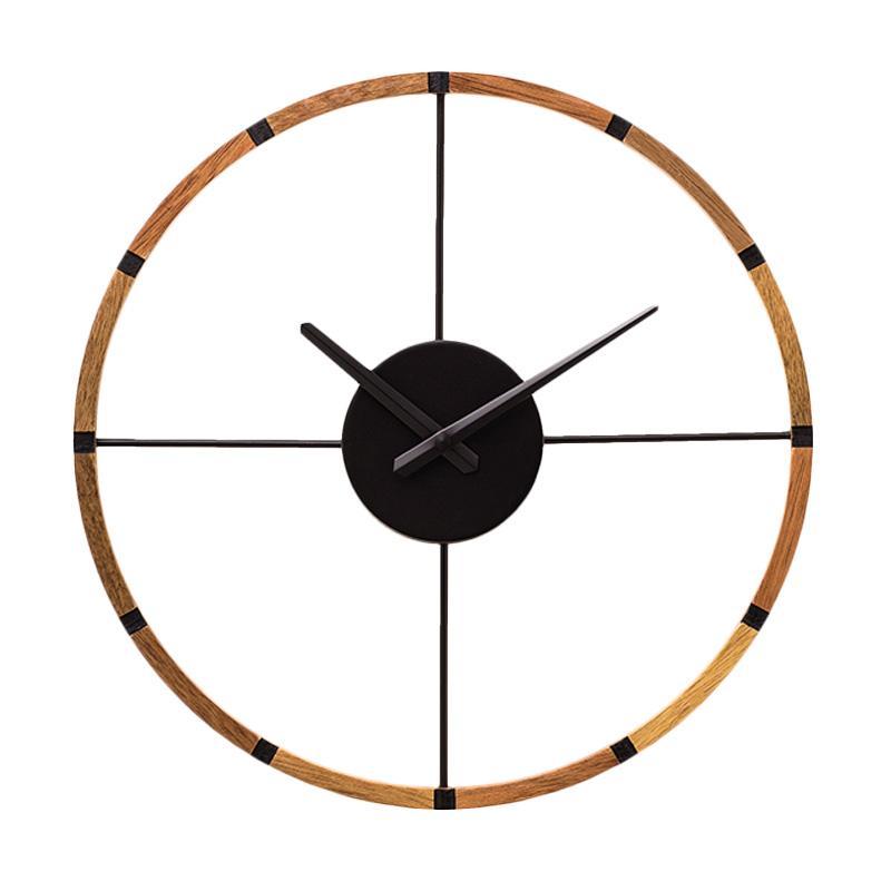 Zeller Life Skeleton Modern Home Decor Round Clock Shandrum Wooden Jam Dinding - Black
