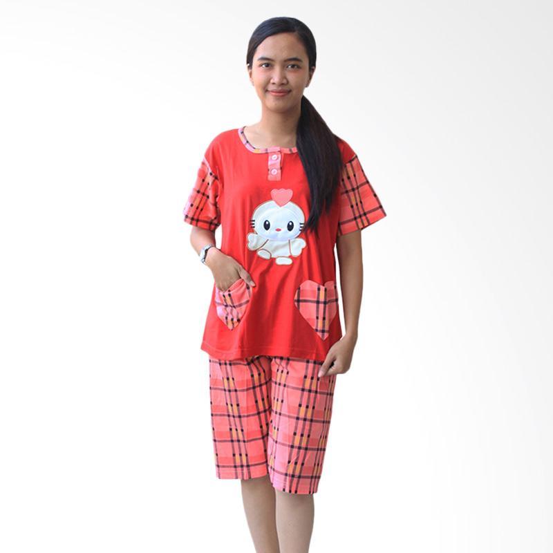 Aily SL050 Setelan Baju Tidur Wanita Celana Pendek - Merah