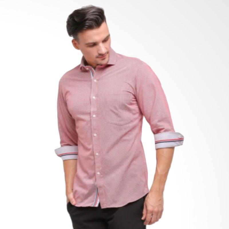 GT Man Long Sleeves Shirt Kemeja Pria - Red [KGT013RD]