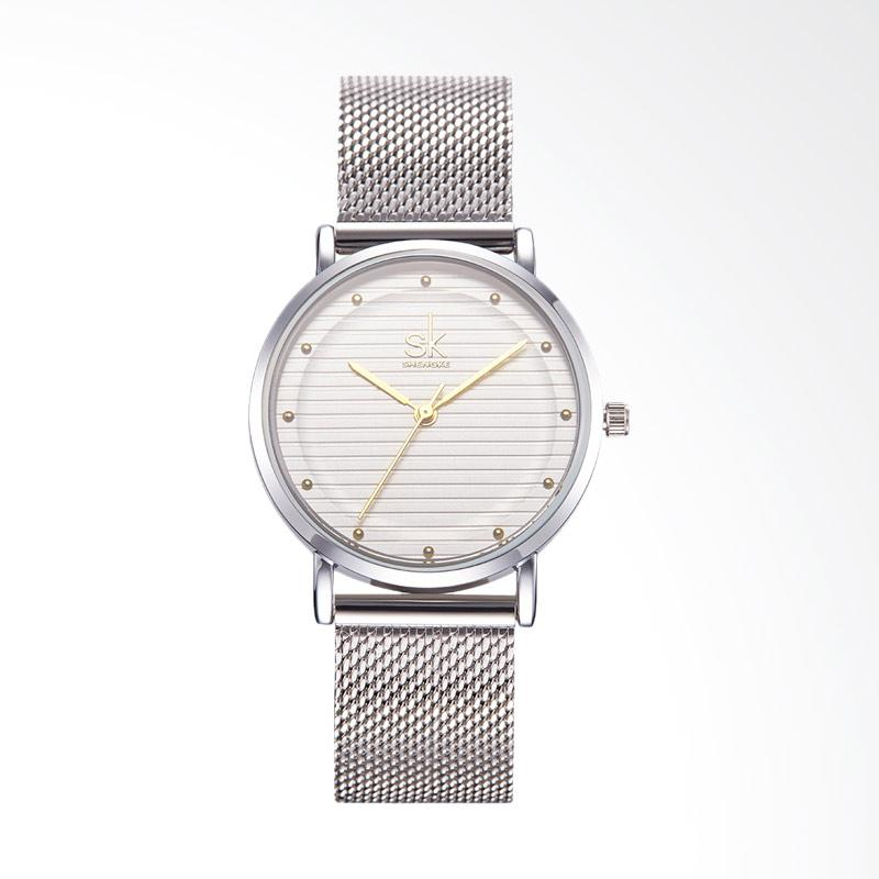SHENGKE SK0049J Luxury Fashion Steel Wire Mesh Watch Jam Tangan Wanita
