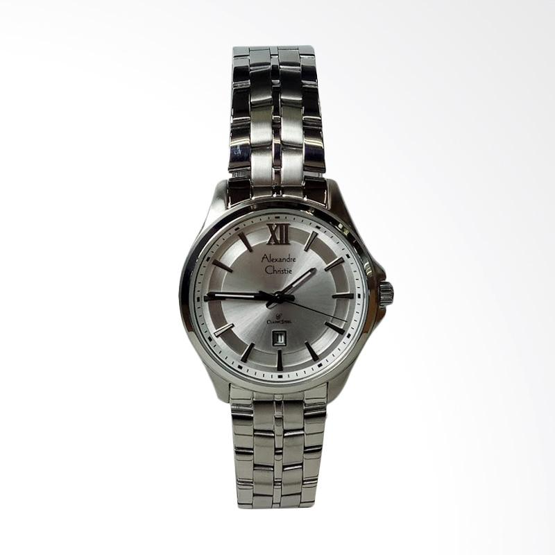 Alexandre Christie AC8530LD Classic Stainless Steel Dial White Jam Tangan Wanita - Silver