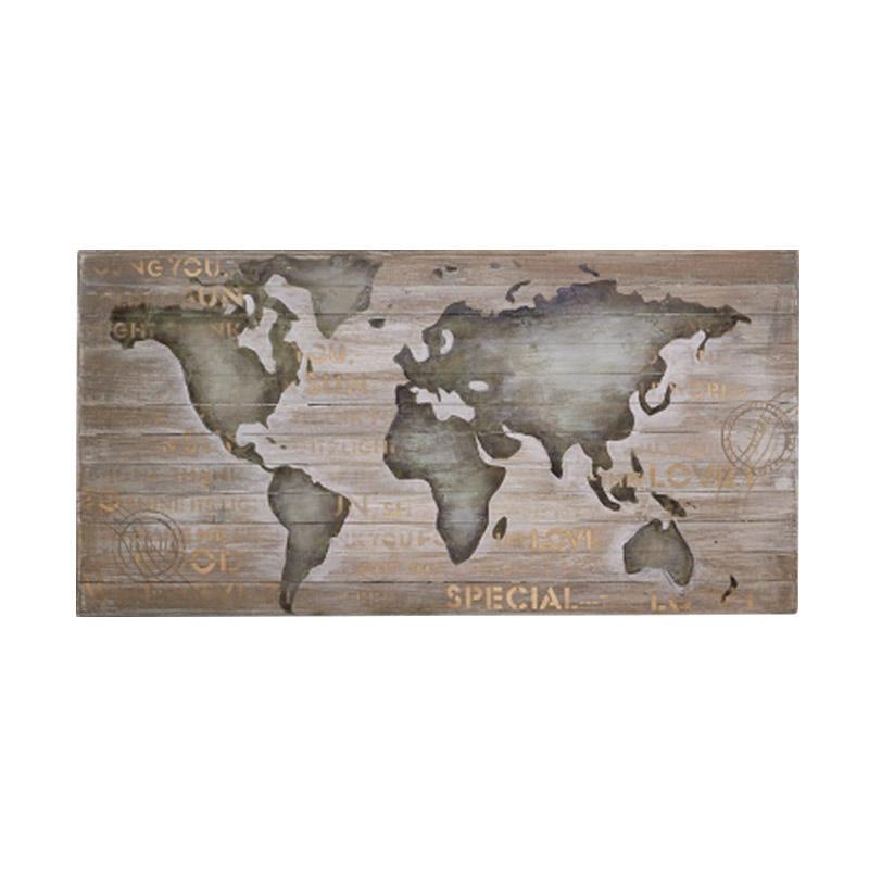 Thema Home 6529 Painting On Wood Board World Map CE-204 CNYU Lukisan - Grey