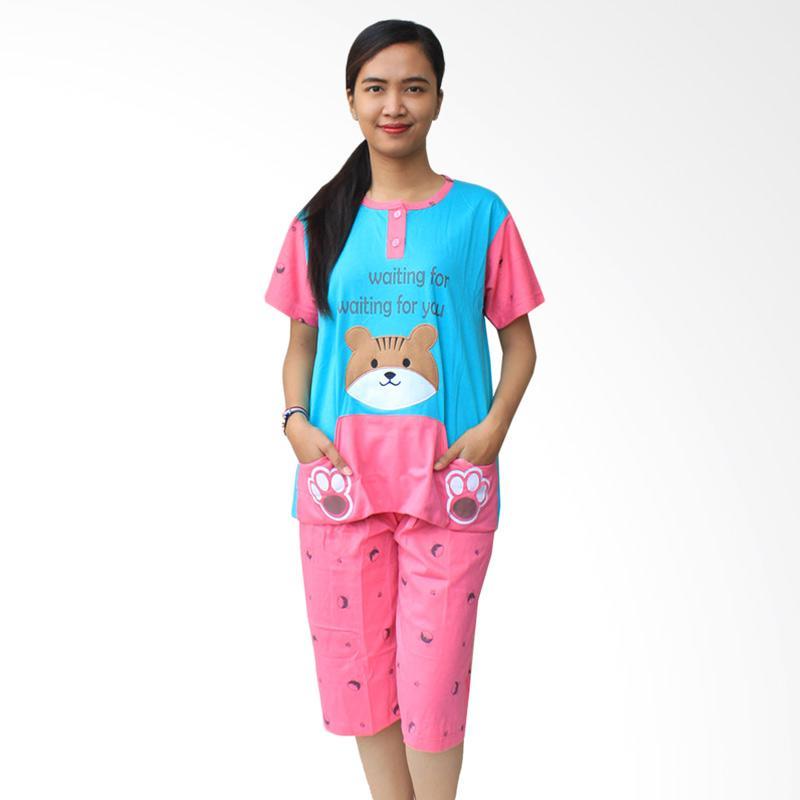 Aily SL040 Setelan Baju Tidur Wanita - Tosca Blue