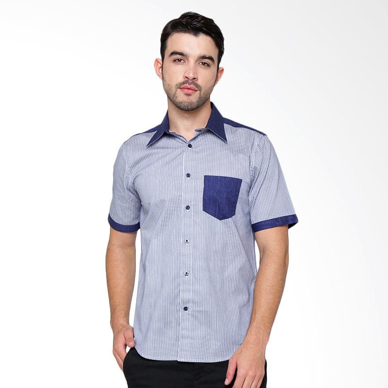 A&D Fashion Mens Short Sleeve Shirt - Navy [MS 732B]