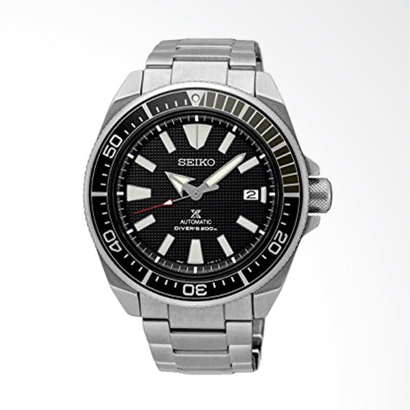 Seiko Prospex Samurai Automatic Divers Black Dial Stainless Steel Men Watch - Silver Black [SRPB51K1]