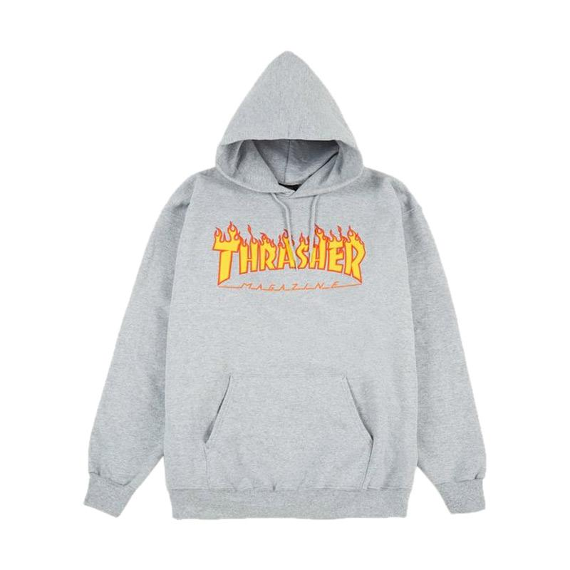 Thrasher Magazine Flamed Hoodie Sweater Pria - Grey