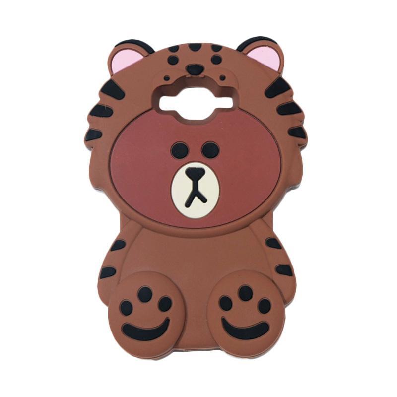 QCF Karakter 4D Beruang Kostum Singa Silicone Softcase Casing for Samsung Galaxy Grand Prime G530 - Coklat