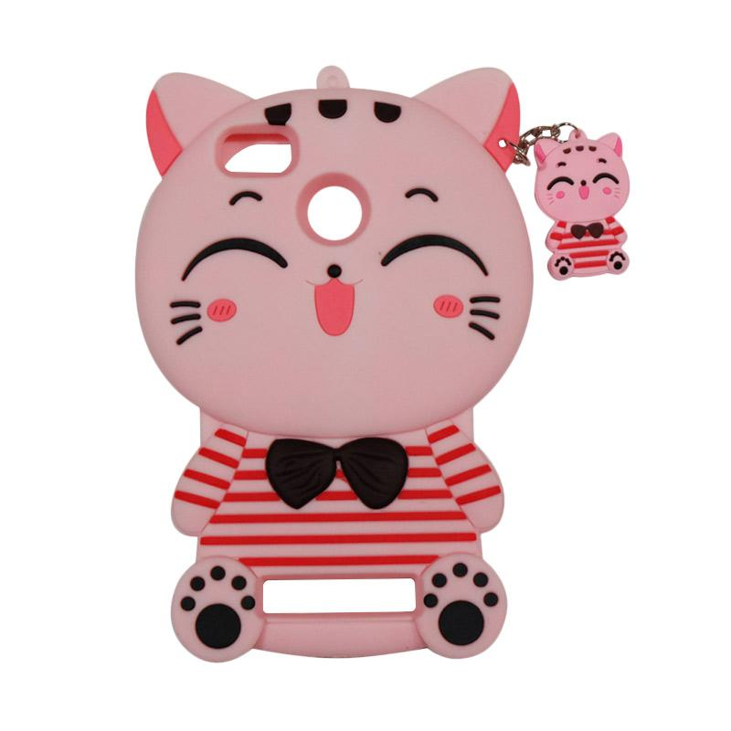 QCF Softcase 4D Karakter Kucing Lucky Cat Pink Silicone 4D Casing for Xiaomi Redmi 3X - Pink