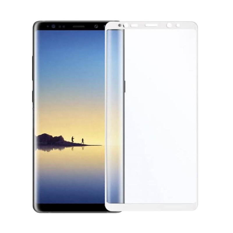 QCF Tempered Glass Warna Full White (Depan Saja) Screen Protector Melengkung for Samsung Galaxy Note 8 Anti Gores Kaca - White