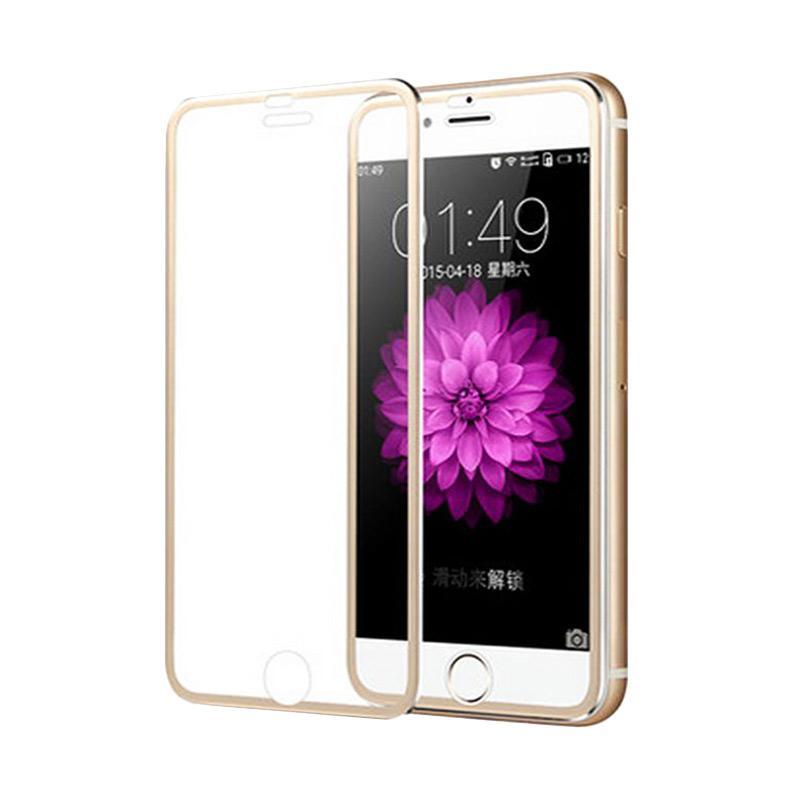 QCF Tempered Glass Ring Besi Aluminium Screen Protector for Apple iPhone 6 Plus / iPhone 6Plus / Iphone 6+ Ukuran 5.5 Inch Pelindung Layar - Gold