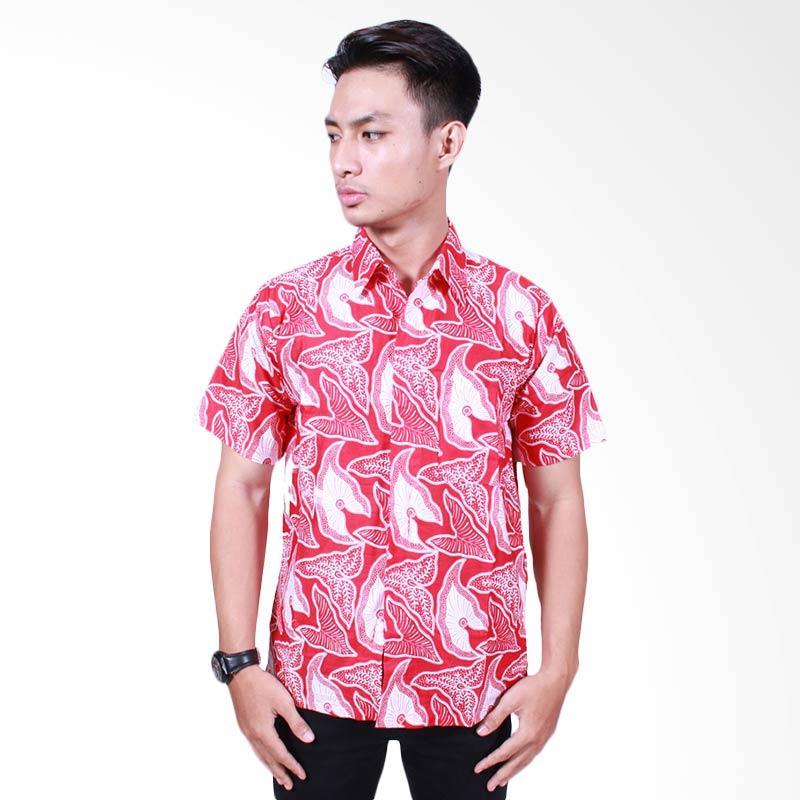 Batik Putri Ayu Solo Katun Hem Kemeja Pria - Merah [KPD508]
