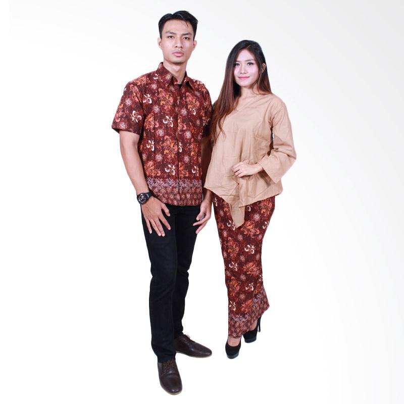 Batik Putri Ayu Solo SRD504 Batik Sarimbit Dress Baju Batik Couple - Cokelat