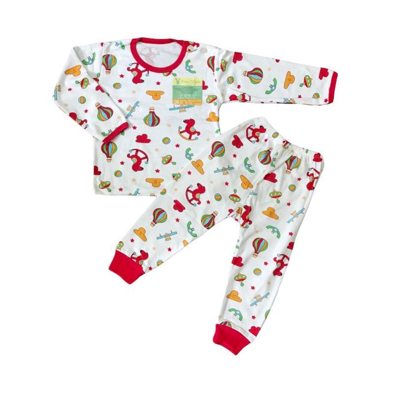 Aruchi Motif Playground Tangan Panjang Setelan Baju Tidur Bayi - Merah