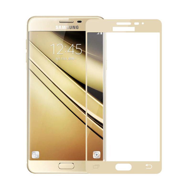 QCF Tempered Glass Warna Full Gold (Depan Saja) Screen Protector for Samsung Galaxy J3 Pro 2016 / J3110 Anti Gores Kaca - Gold