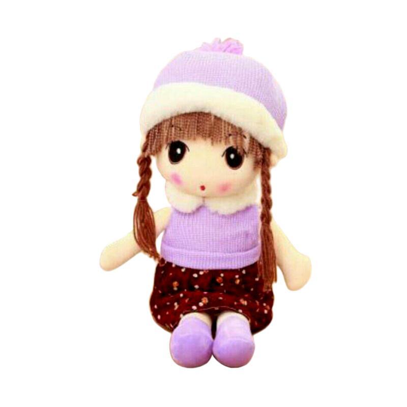 Boneka Murah Lucu Girl Import Topi Winter Boneka - Ungu