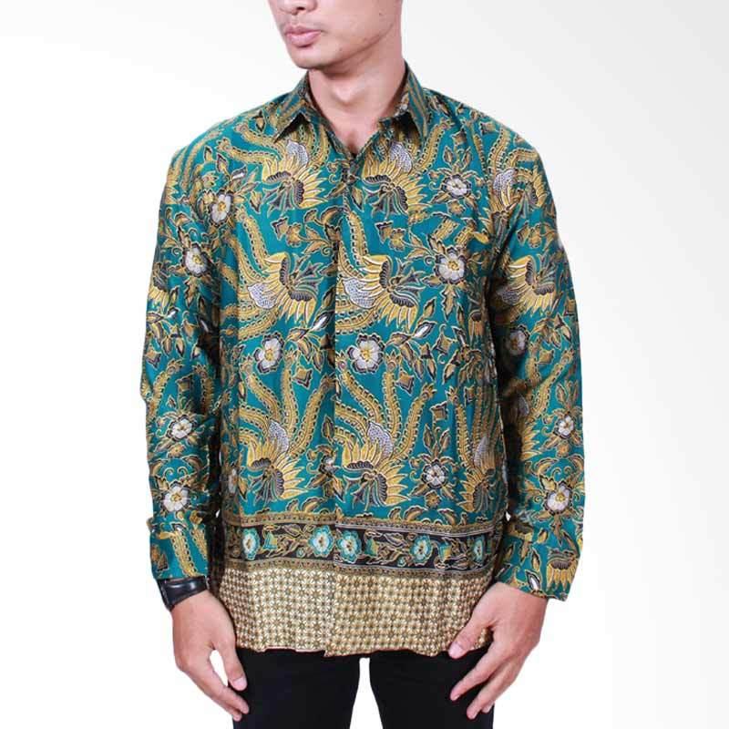 Batik Putri Ayu Solo Kemeja Batik Pria Lengan Panjang - Hijau Tua [KPJ501]