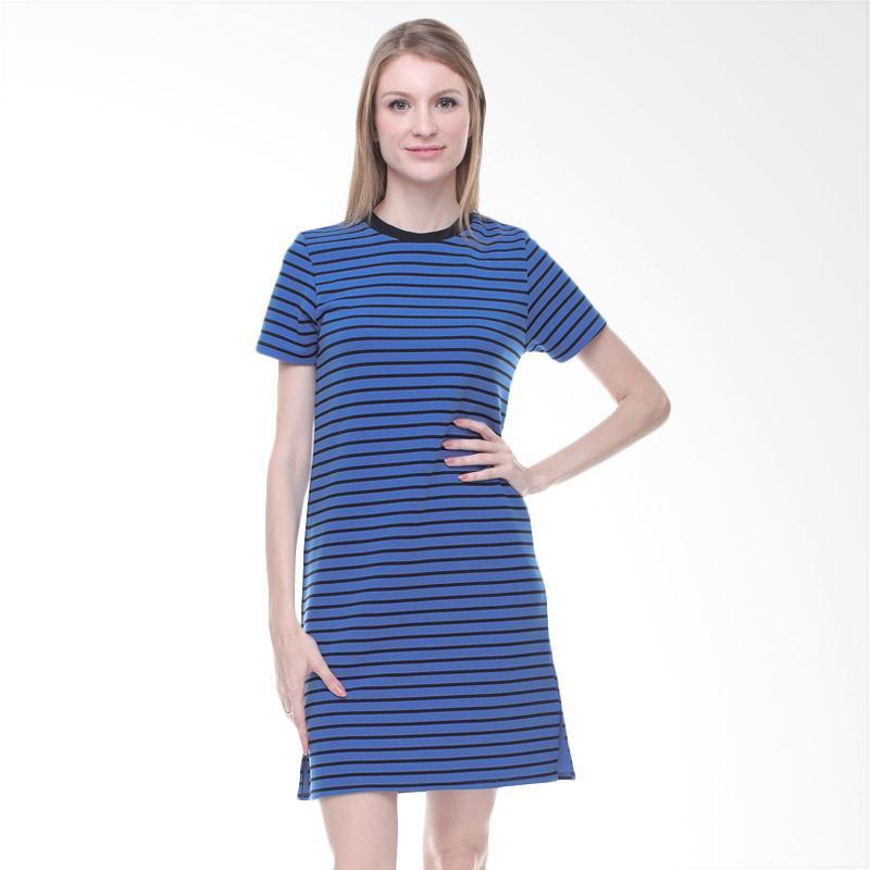 Halcyon Basic Stripe Dress Wanita - Blue