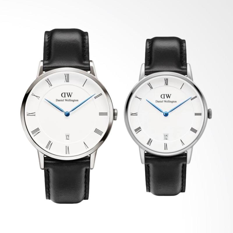 Daniel Wellington Dapper Sheffield Jam Tangan Couple - Hitam Ring Silver [38mm & 34mm]