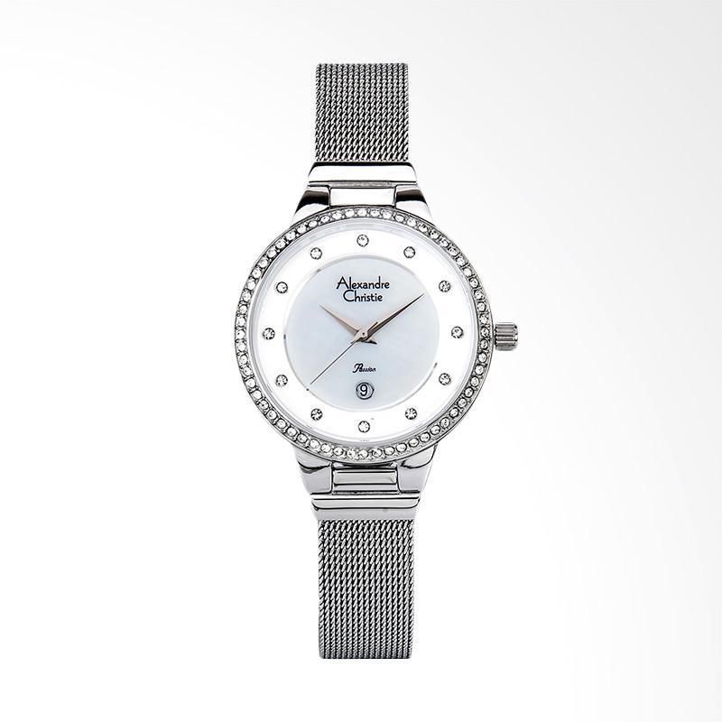 Alexandre Christie AC 2671 LD BSSSL Ladies White Mother of Pearl Dial Jam Tangan Wanita - Silver