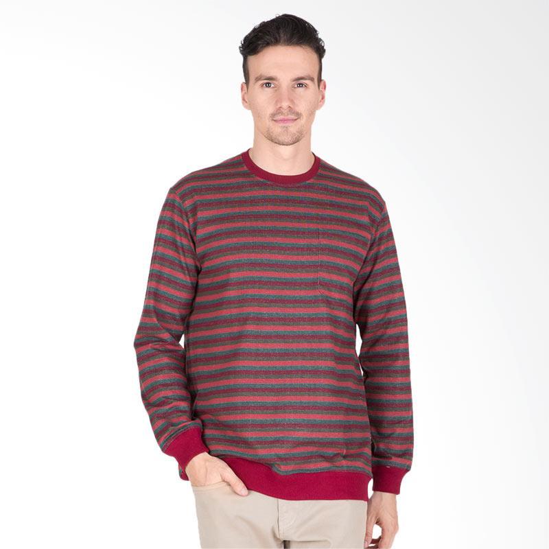 Tendencies Crimson Stripes Sweater Pria - Maroon