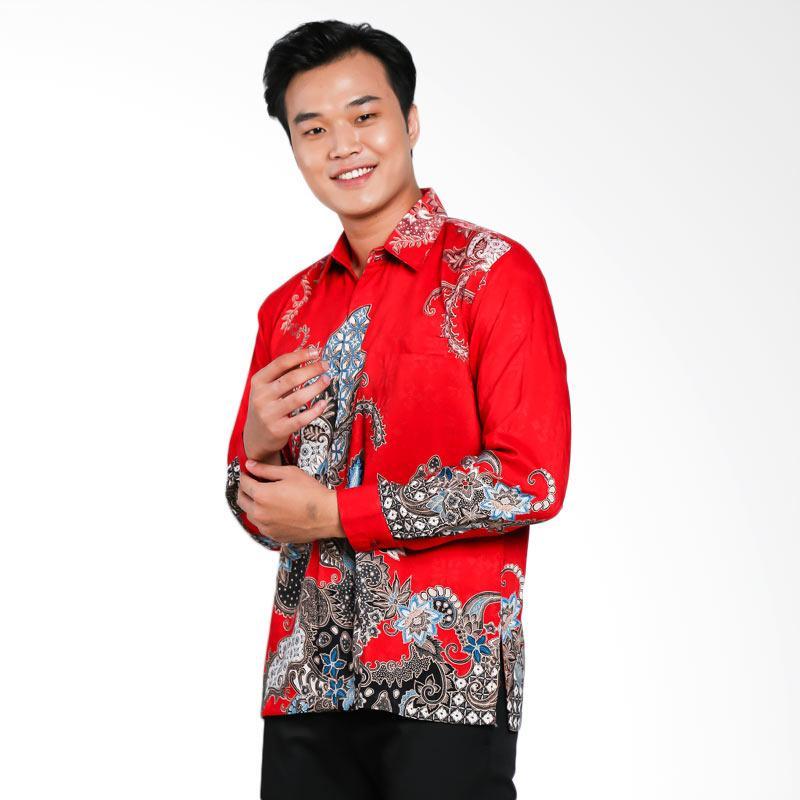 Blitique Abinawa Pola Batik Kemeja Pria - Merah