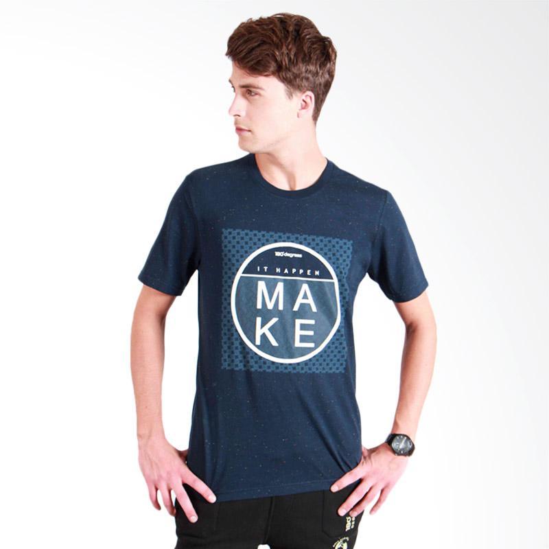 180 Degrees MAKE Dot Color T-Shirt Pria - Navy