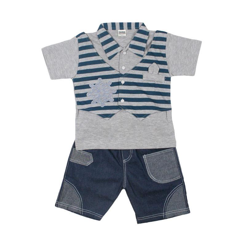 TOMPEGE TP 51302 Kerah Kecil Setelan Baju Anak Laki Biru .
