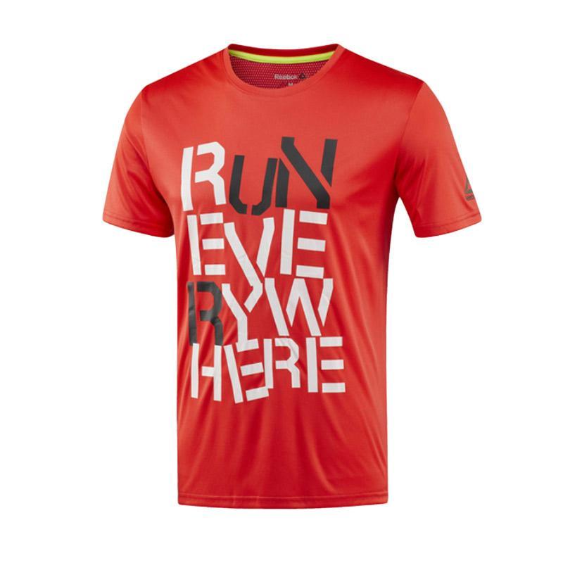 Reebok Run Men Tee Pakaian Olahraga Pria - Red [BR4417]