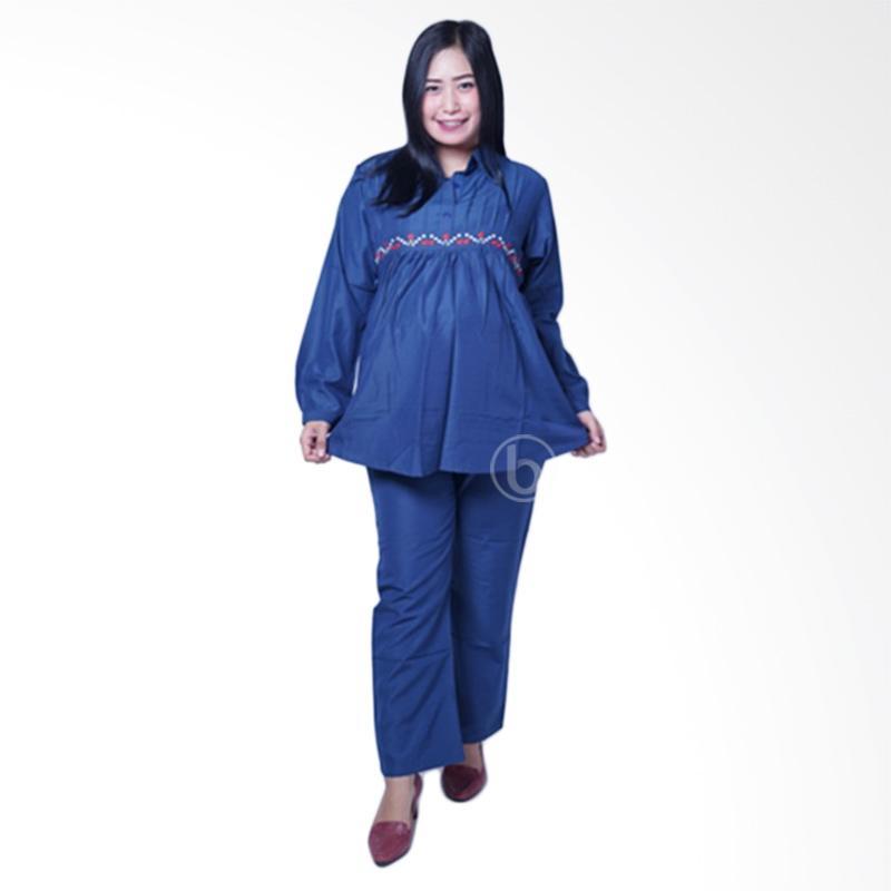 Harga Mama Hamil STJ 74 Simple Rose Kinara Setelan Baju Ibu Hamil - Biru Bulan Ini