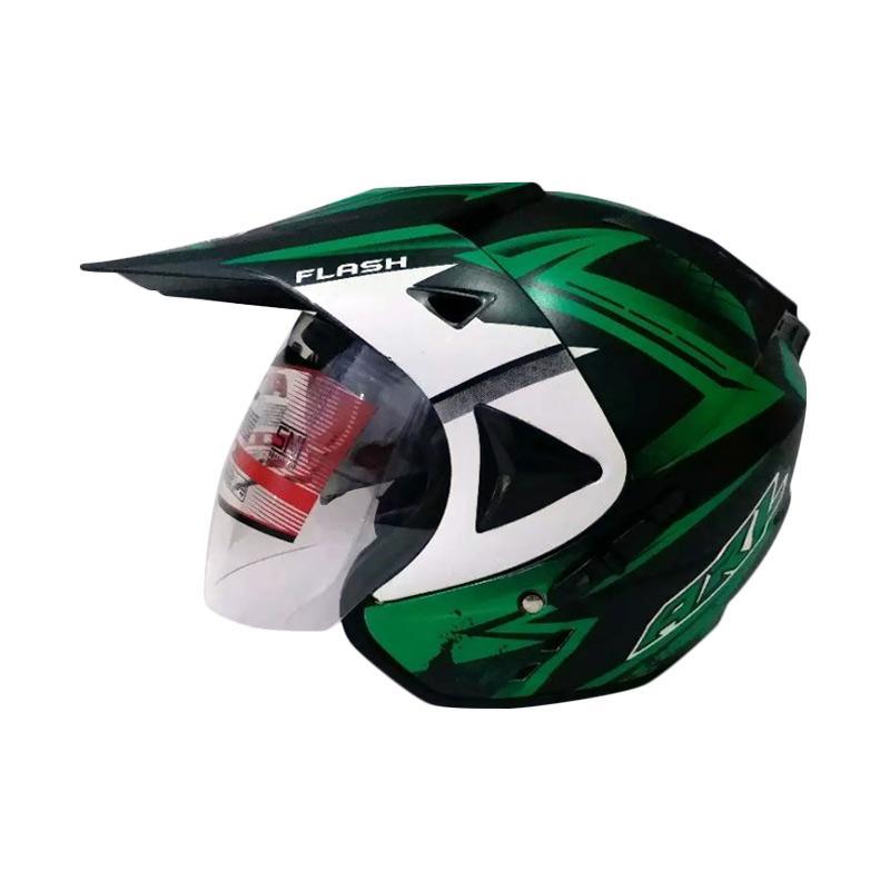 harga ARL Semi Cross Double Visor Flash Helm Half Face - Black Doff Blibli.com