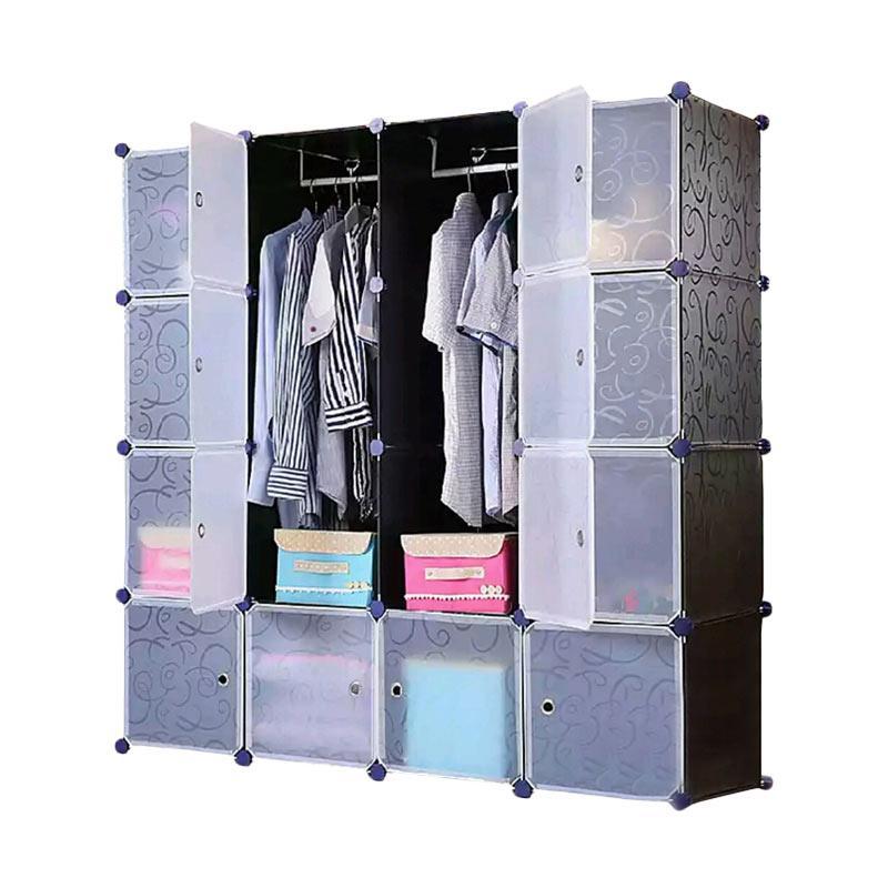 Tupper Cabinet Elegant Black Korean Design DIY Lemari Pakaian [16 Pintu / Original]