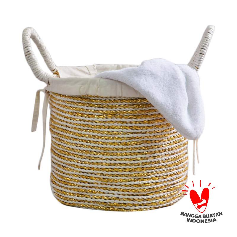 Nine Ciky Square Laundry Basket Gold White