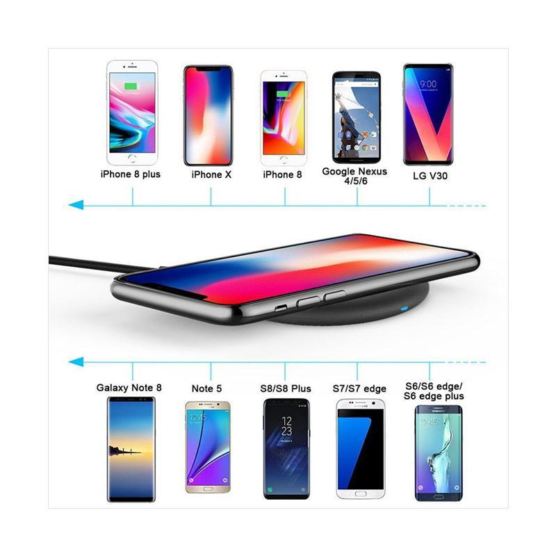 newest ef988 c8b33 mini smile Ultra Slim Sleep-Friendly Qi QC Fast Charge Wireless Charger Pad  for iPhone X/ 8/ 8 Plus/ Samsung/ LG - Black