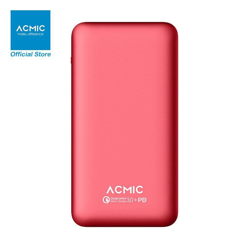 ACMIC A10PRO Gen2 PowerBank [10000 mAH/ Quick Charge 3.0/ Power Delivery] + Free Kabel Power Delivery + 10PRO Pouch Red + Travel Pillow + GymSack