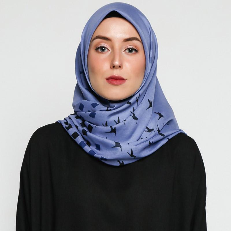 VIVI ZUBEDI Tabiea Square Series 01 Scarf Voal Printed Jilbab Segiempat Dusty Blue
