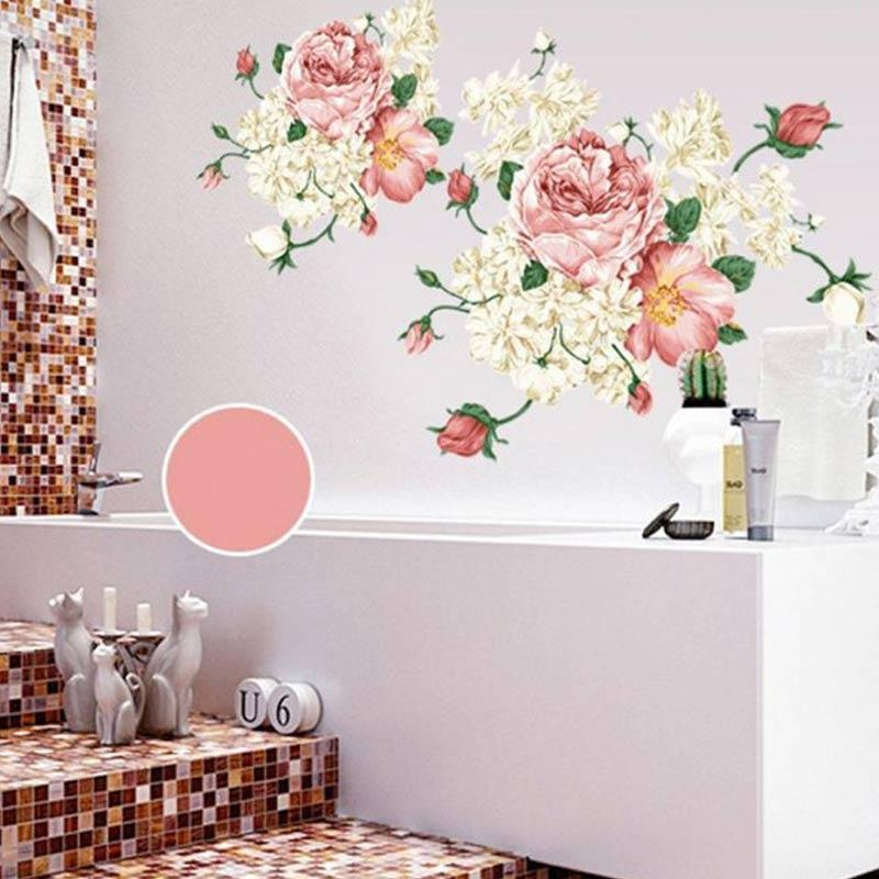 Bluelans Peony Flower Decal Removable Diy Mural Art Tv Background Decor Wall Sticker