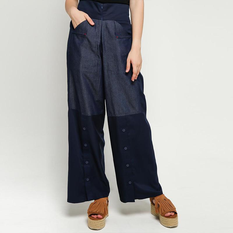 Oline Workrobe Long Loose Celana Wanita Navy