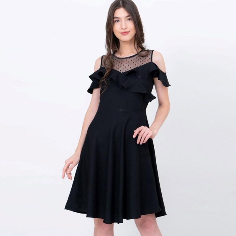 Voerin Mossimo Combi Dress Wanita Hitam