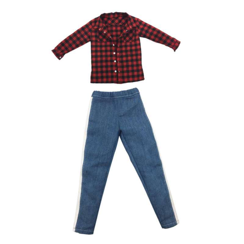 1:6 Scale Red Check Coat for   TC 12in Action Figures Doll Accs Parts