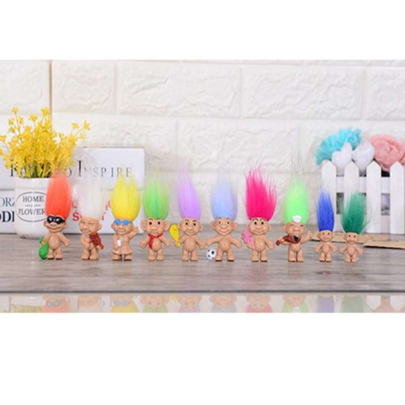 50 Pieces Vintage Cute Troll Dolls Colored Hair Little Collectible Toys