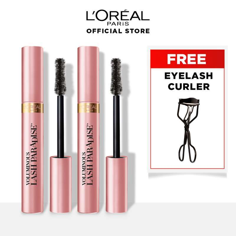 L Oreal Paris Voluminous Lash Paradise Waterproof Mascara Black Twin Pack 2pcs Free Eyelash Curler 2 Ulasan